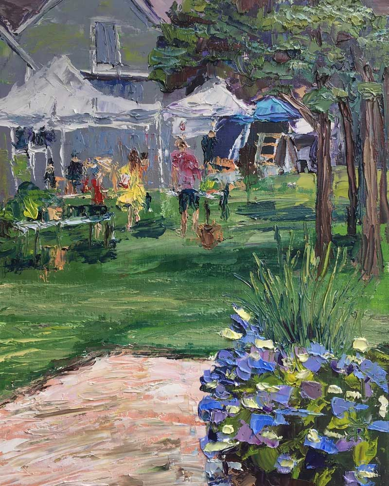 Oil painting of the Osterville Farmers Market